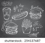 vector hand drawn set of retro...   Shutterstock .eps vector #254137687
