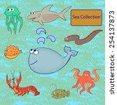 Set Of Marine Animals. Sea...