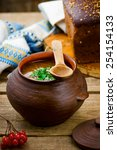 Small photo of shchi, traditional Russian soup from cabbage. style rustic.