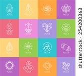 set of outline yoga monograms... | Shutterstock .eps vector #254200363