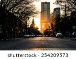 sunset at rush hour in deep... | Shutterstock . vector #254209573