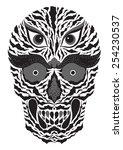 abstract sugar skull wildlife... | Shutterstock .eps vector #254230537