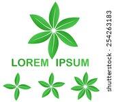 green ecology leaves logo icon...   Shutterstock .eps vector #254263183