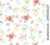 seamless texture for girl with... | Shutterstock .eps vector #254333137