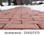 Red Brick Footpath From Low...