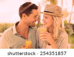 hip young couple drinking... | Shutterstock . vector #254351857
