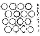 set of black round vintage... | Shutterstock .eps vector #254371357