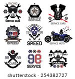 set of vintage car races and... | Shutterstock .eps vector #254382727