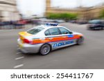 Police Car In London In Motion...