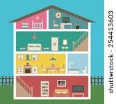 house in cut. detailed modern... | Shutterstock .eps vector #254413603