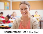 pretty teacher smiling at... | Shutterstock . vector #254417467