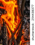Small photo of A close up of the aflame wood in bonfire.
