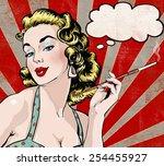 Pop Art Illustration Of Woman...