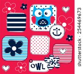childish pattern with sailor... | Shutterstock .eps vector #254469673