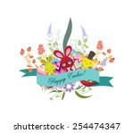 floral easter eggs with bunny | Shutterstock . vector #254474347
