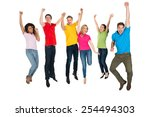 excited group of multiethnic... | Shutterstock . vector #254494303