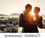 couple of lovers at restaurant  ... | Shutterstock . vector #254581177