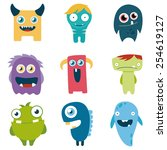 vector set of cartoon cute... | Shutterstock .eps vector #254619127