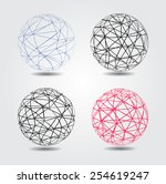 abstract striped spheres.sphere ... | Shutterstock .eps vector #254619247
