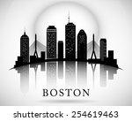Stock vector boston skyline city silhouette 254619463