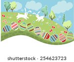 green meadow with easter eggs... | Shutterstock .eps vector #254623723