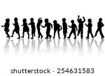 happy children dancing together | Shutterstock .eps vector #254631583