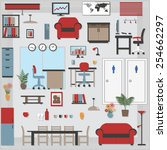furniture with shadows icons... | Shutterstock .eps vector #254662297