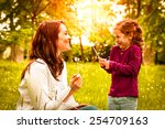 mother with small daughter... | Shutterstock . vector #254709163