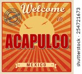 vintage touristic welcome card  ... | Shutterstock .eps vector #254721673