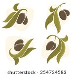 green olives  vector collection ... | Shutterstock .eps vector #254724583
