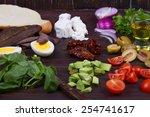 greek steak salad on bread with ...