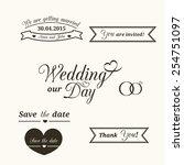 set of wedding vintage... | Shutterstock .eps vector #254751097