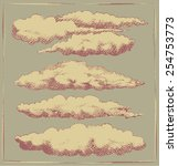 set of cloud engravings.... | Shutterstock .eps vector #254753773
