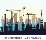 building site with cranes. city ... | Shutterstock .eps vector #254753803
