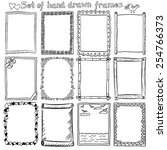 set of hand drawn frames and... | Shutterstock .eps vector #254766373