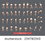 set of dumbbell exercises ... | Shutterstock .eps vector #254782543