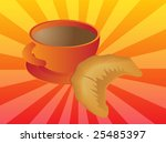 mug of coffee and croissant... | Shutterstock . vector #25485397