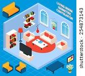 isometric living room interior... | Shutterstock .eps vector #254873143