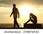 couple silhouette breaking up a ... | Shutterstock . vector #254876533