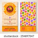 vintage happy easter greeting... | Shutterstock .eps vector #254897047