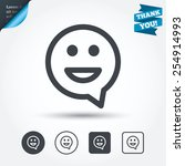 Happy face chat speech bubble symbol. Smile icon. Circle and square buttons. Flat design set. Thank you ribbon. Vector
