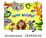 Happy Birthday Card With Jungl...