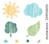 crayon word bubbles   set of 4... | Shutterstock .eps vector #254933053