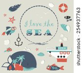 cute sea object icons... | Shutterstock .eps vector #254937763