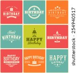 typographic happy birthday... | Shutterstock .eps vector #254940517