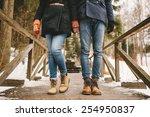 couple holding hands standing... | Shutterstock . vector #254950837