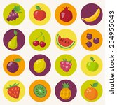 fruits icons set in flat style | Shutterstock .eps vector #254955043