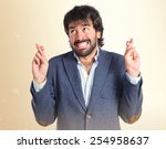 man with his fingers crossing... | Shutterstock . vector #254958637