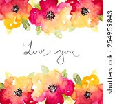 vector watercolor red and... | Shutterstock .eps vector #254959843