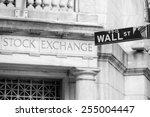 wall street sign in new york... | Shutterstock . vector #255004447